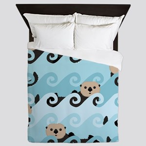Cute Sea Otters Queen Duvet