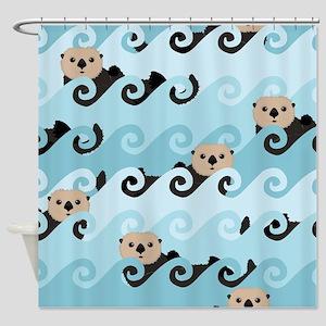 Cute Sea Otters Shower Curtain