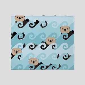 Cute Sea Otters Throw Blanket
