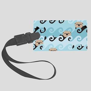Cute Sea Otters Luggage Tag