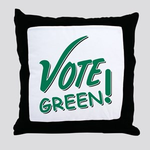 """Vote Green"" Throw Pillow"