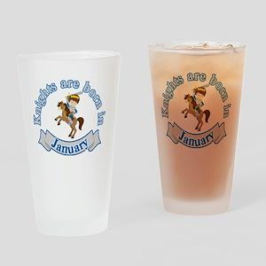 January Birthday   Knights Are Born Drinking Glass