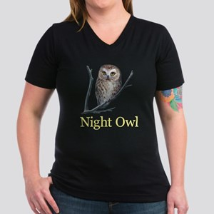 night owl Women's V-Neck Dark T-Shirt