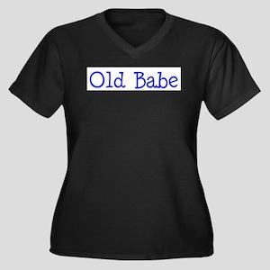 Old babe Women's Plus Size V-Neck Dark T-Shirt