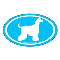 Afghan Hound Oval (white on blue) Oval Decal