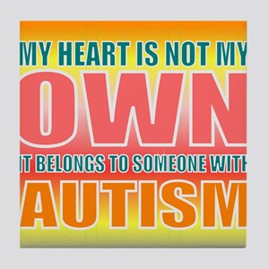 autism orange Tile Coaster