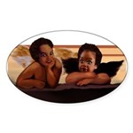 Nubian Cherubs Oval Sticker