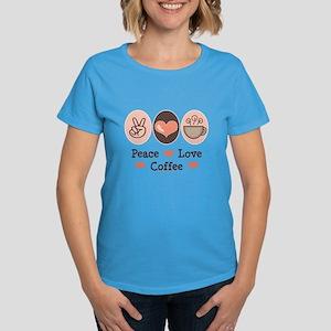 Peace Love Coffee Lovers Women's Dark T-Shirt