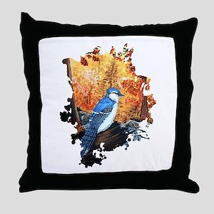 Blue Jay Life Throw Pillow