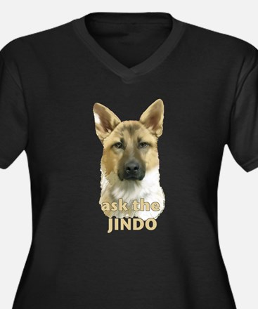 jindo ask Women's Plus Size V-Neck Dark T-Shirt