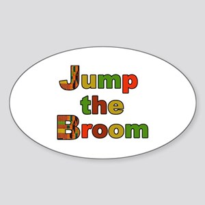 Kente Cloth Jump the Broom Oval Sticker