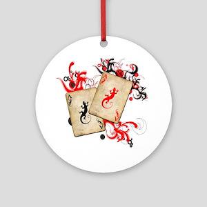 Gecko Gambler Ornament (Round)