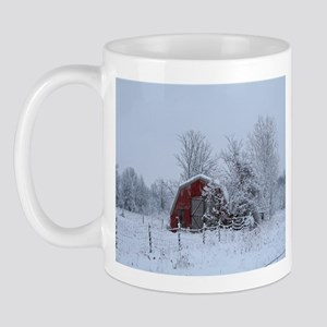 Rustic Snow Covered Red Barn Mug