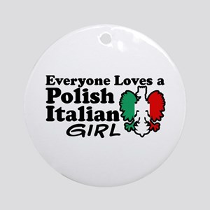 Polish Italian Girl Ornament (Round)