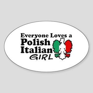 Polish Italian Girl Oval Sticker