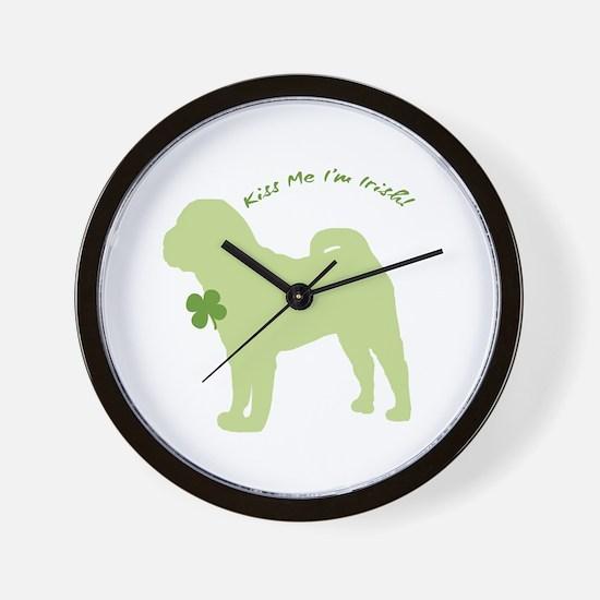 Shar Pei... Kiss Me I'm Irish! Wall Clock