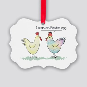 Funny Easter Egg Chicken Picture Ornament