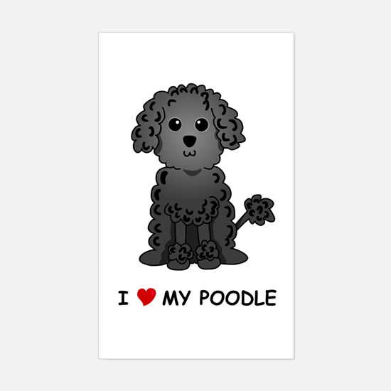 Black Poodle Rectangle Decal