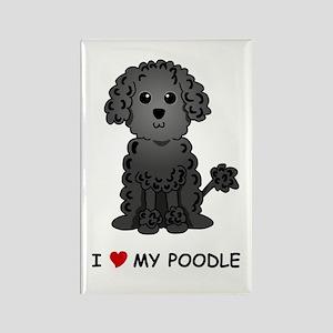 Black Poodle Rectangle Magnet