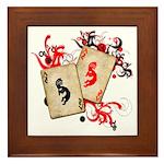 Kokopelli Gambler Framed Tile