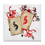 Kokopelli Gambler Tile Coaster