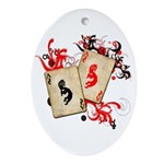 Kokopelli Gambler Oval Ornament