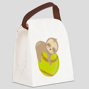Cute Sloth Softball Canvas Lunch Bag