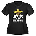 Jesus is my gardener Women's Plus Size V-Neck Dark
