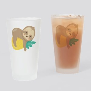 Cute Sloth Pineapple Drinking Glass