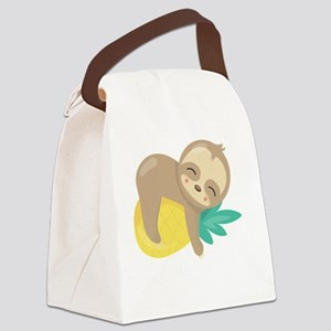 Cute Sloth Pineapple Canvas Lunch Bag