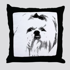 Maltese Face Throw Pillow