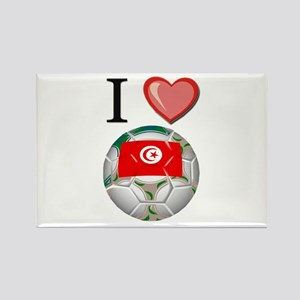 I Love Tunisia Football Rectangle Magnet