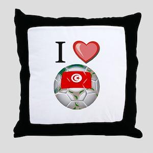 I Love Tunisia Football Throw Pillow
