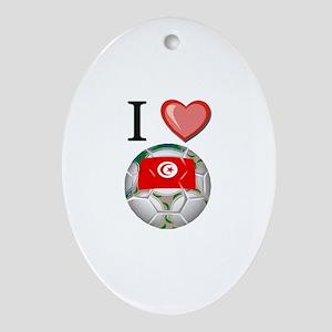 I Love Tunisia Football Oval Ornament
