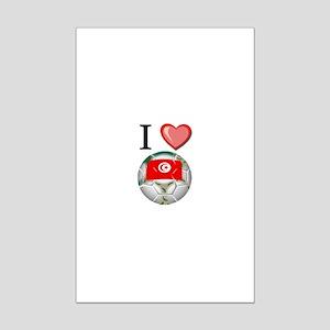 I Love Tunisia Football Mini Poster Print