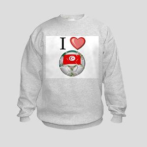 I Love Tunisia Football Kids Sweatshirt
