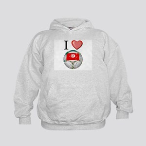 I Love Tunisia Football Kids Hoodie