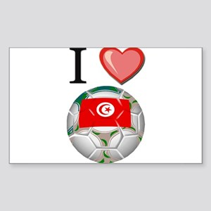 I Love Tunisia Football Rectangle Sticker