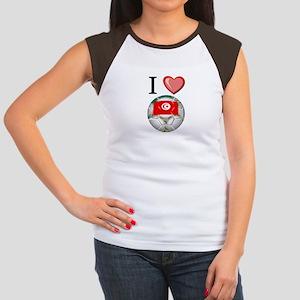 I Love Tunisia Football Women's Cap Sleeve T-Shirt