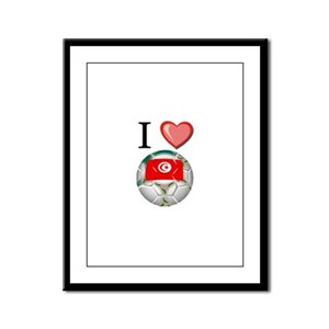 I Love Tunisia Football Framed Panel Print