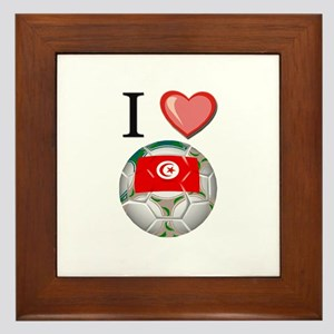 I Love Tunisia Football Framed Tile
