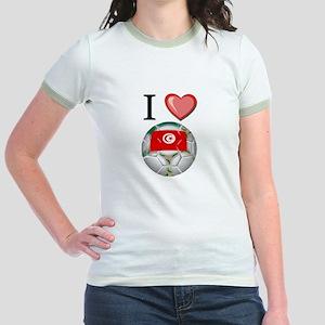 I Love Tunisia Football Jr. Ringer T-Shirt