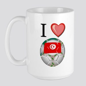 I Love Tunisia Football Large Mug