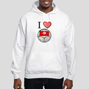 I Love Tunisia Football Hooded Sweatshirt