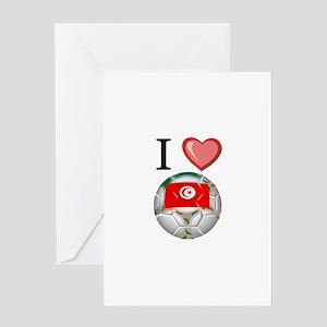 I Love Tunisia Football Greeting Card