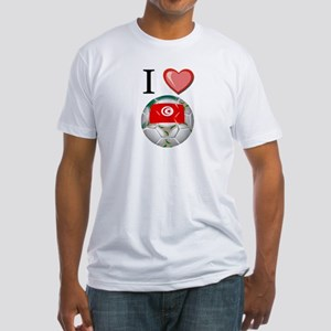 I Love Tunisia Football Fitted T-Shirt