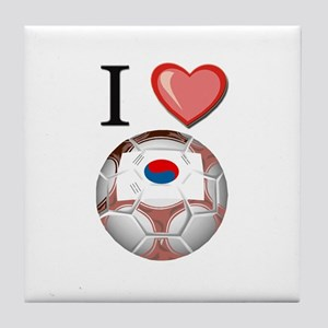 I Love South-Korea Football Tile Coaster