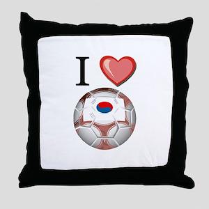I Love South-Korea Football Throw Pillow