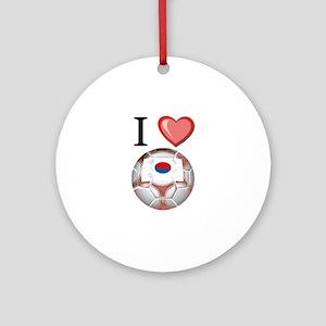 I Love South-Korea Football Ornament (Round)