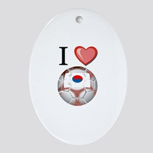 I Love South-Korea Football Oval Ornament